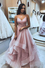 Pink sweetheart tulle long prom dress, pink formal dress