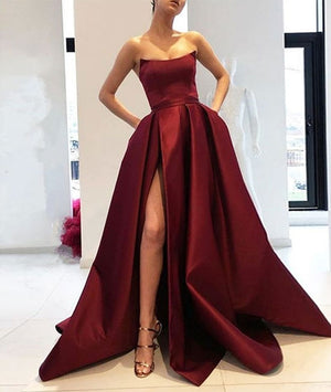 Simple burgundy satin long prom dress, burgundy evening dress - shdress
