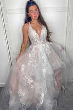 Light champagne v neck tulle lace long prom dress lace evening dress