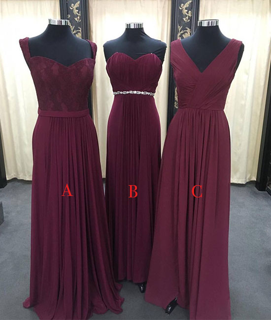 Simple burgundy chiffon long prom dress, burgundy bridesmaid dress - shdress