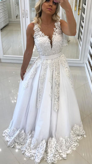 White v neck tulle lace applique long prom dress, white evening dress - shdress