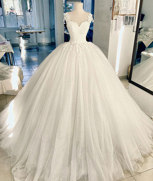 White lace tulle long prom dress, white lace wedding dress - shdress