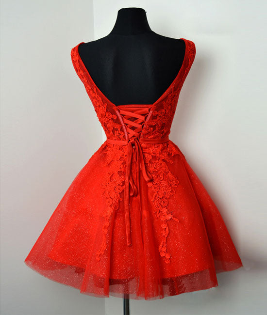 Red v neck lace tulle short prom dress, red homecoming dress