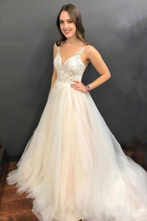 Light champagne tulle lace long prom dress, tulle formal dress