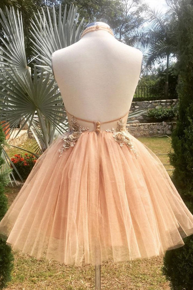 Champagne high neck tulle lace short prom dress tulle formal dress