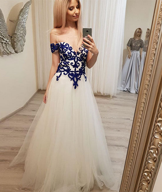 Unique sweetheart lace tulle long prom dress, tulle evening dress - shdress