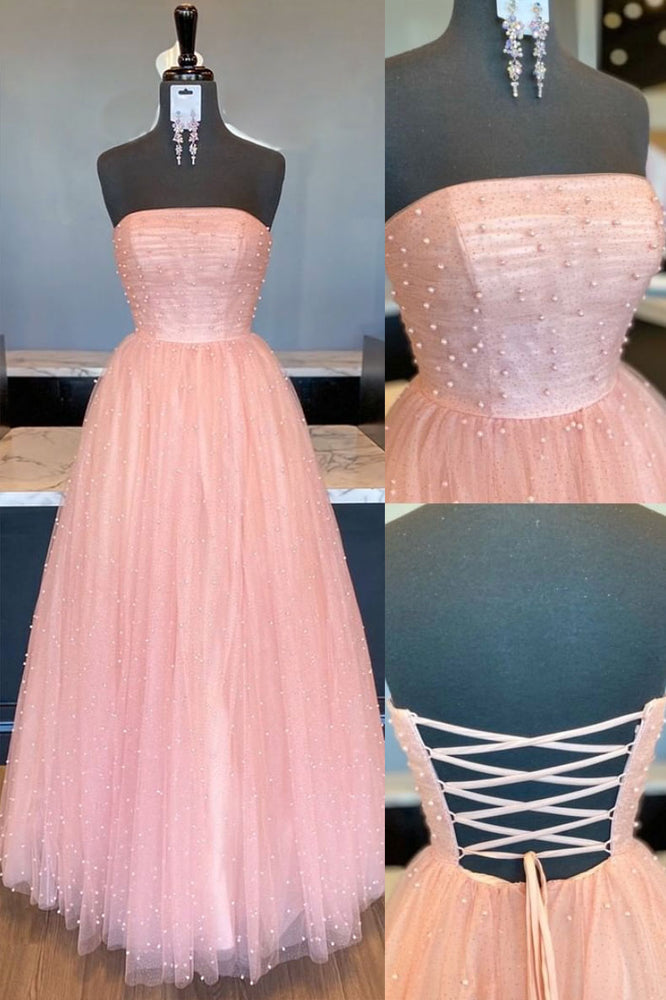 Pink tulle A-line long prom dress tulle formal dress