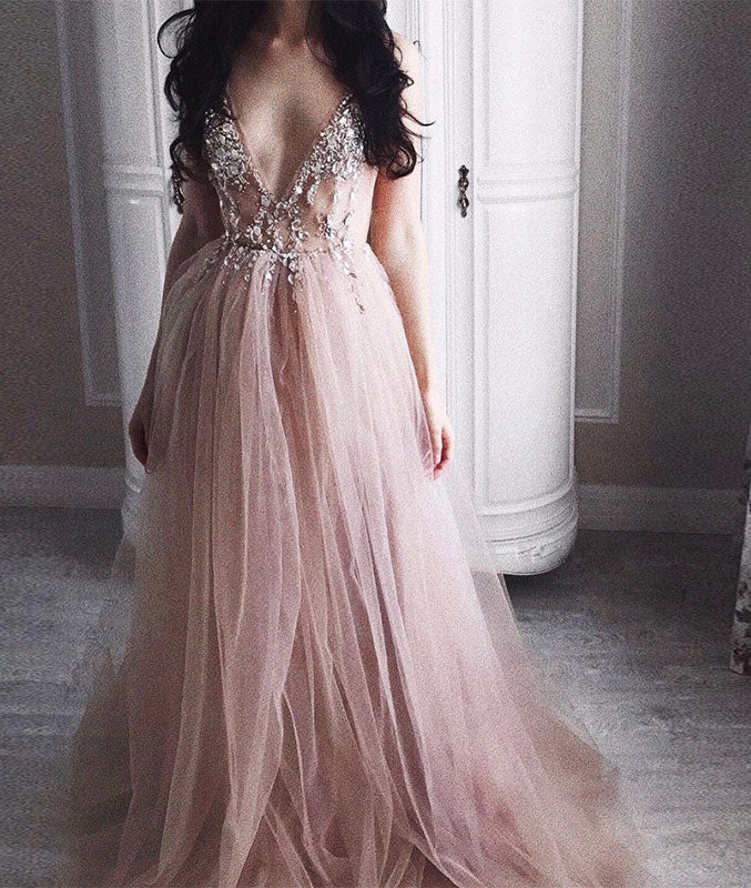 b34b8c17781 Elegant v neck champagne tulle long prom dress