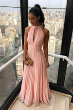 Simple chiffon long prom dress, chiffon pink bridesmaid dress