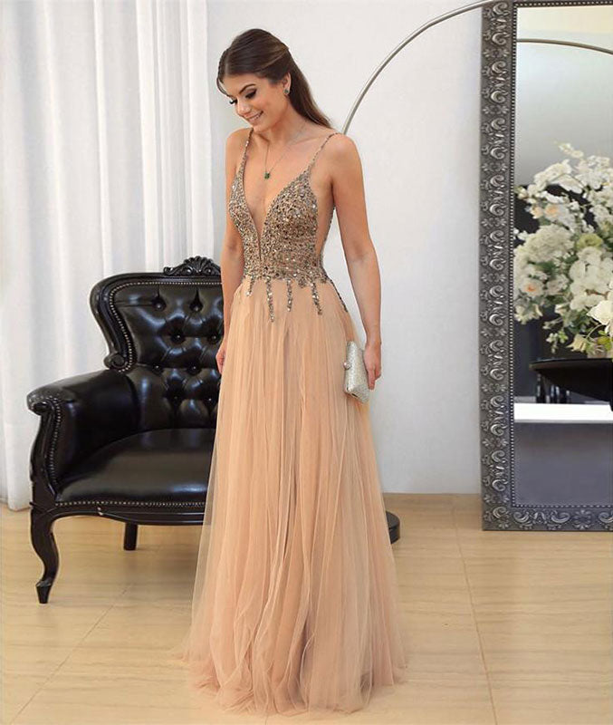 Champagne v neck sequin tulle long prom dress, evening dress