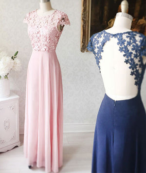 Simple round neck chiffon lace long prom dress. lace evening dress - shdress