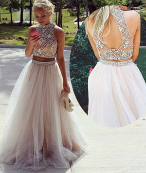 d13c9e2ed89e Champagne tulle beaded 2 pieces long prom dresses, formal dresses - shdress