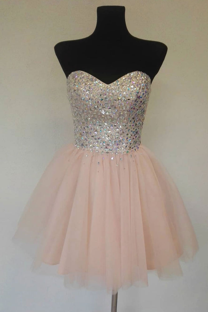 Pink sweetheart tulle short prom dress, homecoming dress