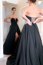 Simple black chiffon long prom dress black evening dress