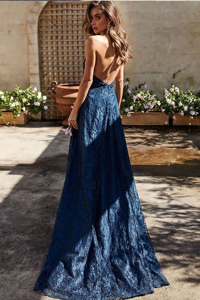 Simple v neck dark blue lace long prom dress, lace evening dress