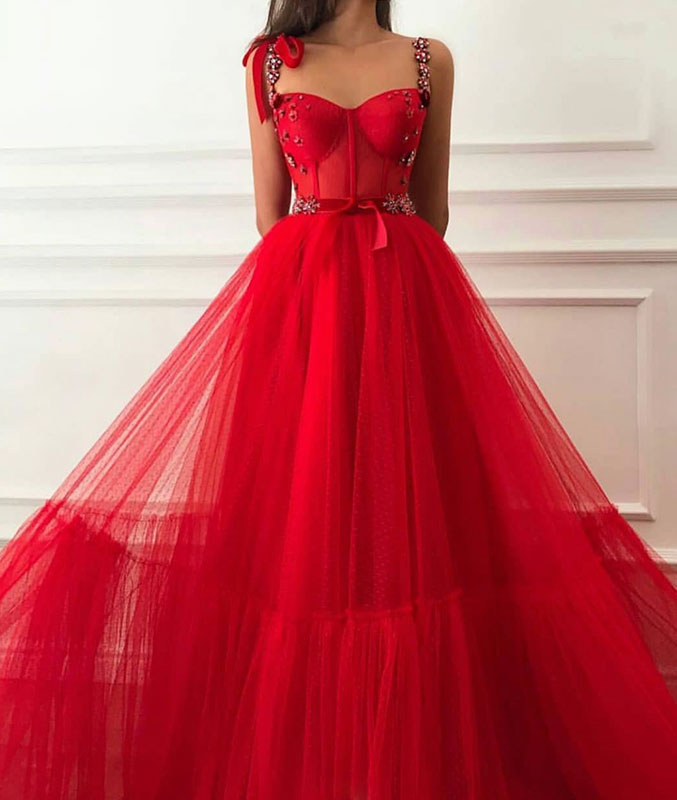 Red tulle sweetheart long prom dress, red tulle evening dress