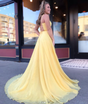 Simple yellow chiffon long prom dress, yellow evening dress