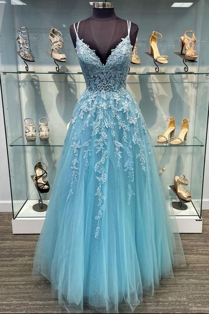 Blue v neck tulle lace long prom dress blue tulle lace evening dress