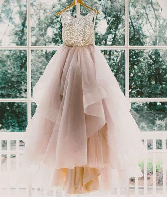 Unique round neck sequin tulle long prom gown, evening dress, wedding dress