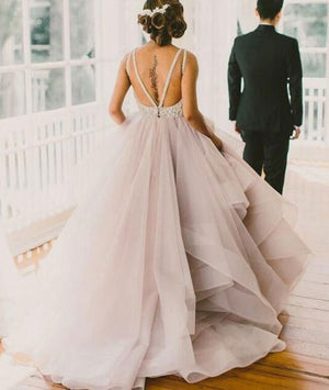 Unique round neck sequin tulle long prom gown, evening dress, wedding dress - shdress