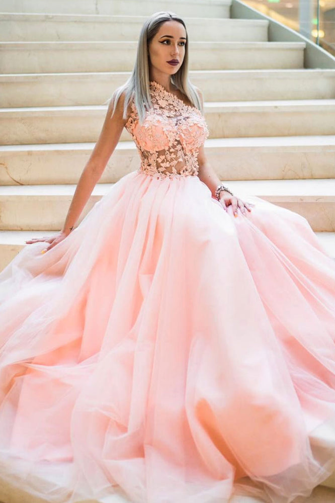 Pink tulle lace one shoulder long prom dress pink lace bridesmaid dress