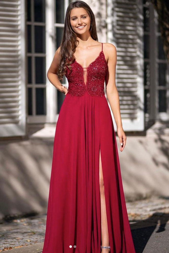Burgundy v neck chiffon lace long prom dress burgundy evening dress