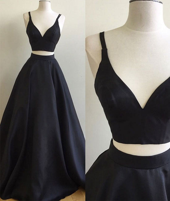 Simple two pieces black long prom dress, black evening dress - shdress