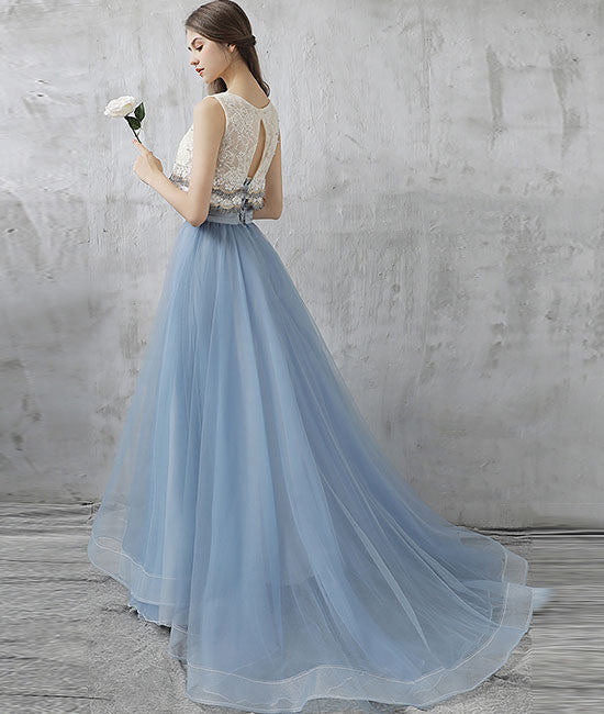 Elegant two pieces tulle long prom dress, tulle homecoming dress ...