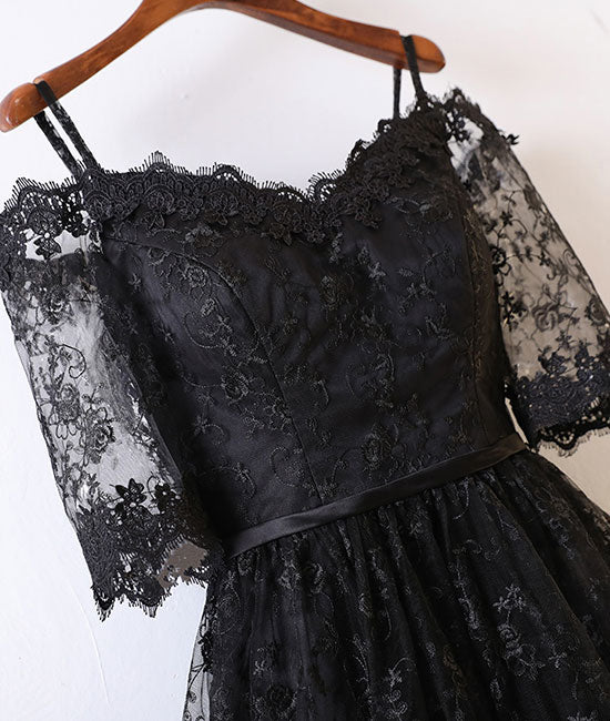 Black lace high low prom dress, black lace evening dress - shdress