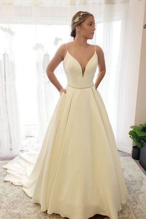 Simple white satin long prom dress, white evening dress