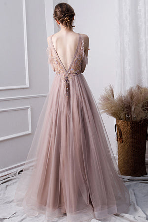 Champagne tulle beads long prom dress, champagne evening dress