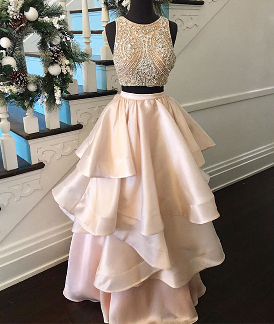 Pink two pieces beaded long prom dress, pink evening dress - shdress