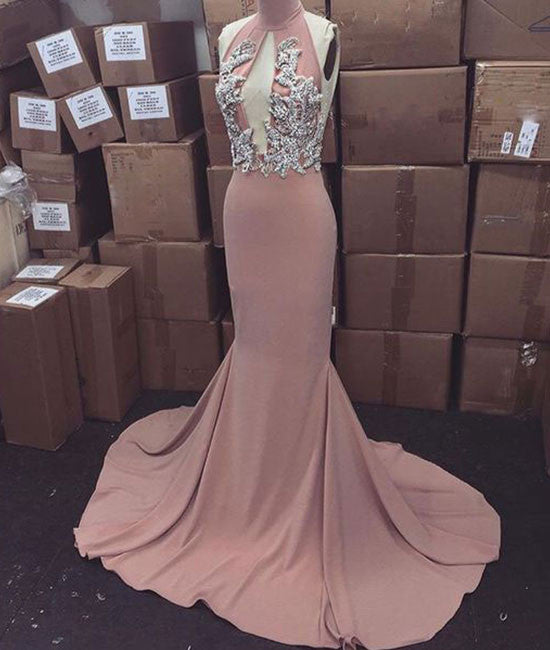 Pink high neck long prom dress for teens, evening dress