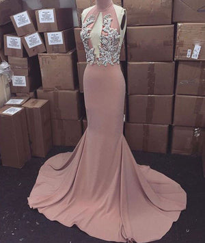 Pink high neck long prom dress for teens, evening dress - shdress