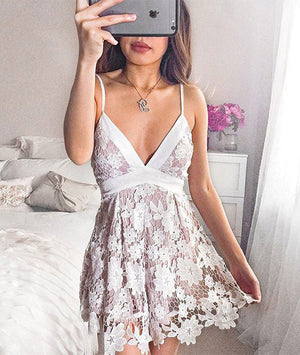 Cute  v neck lace short prom dress, lace homecoming dress - shdress