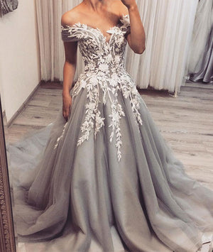 Gray tulle lace applique long prom dress, gray tulle evening dress - shdress