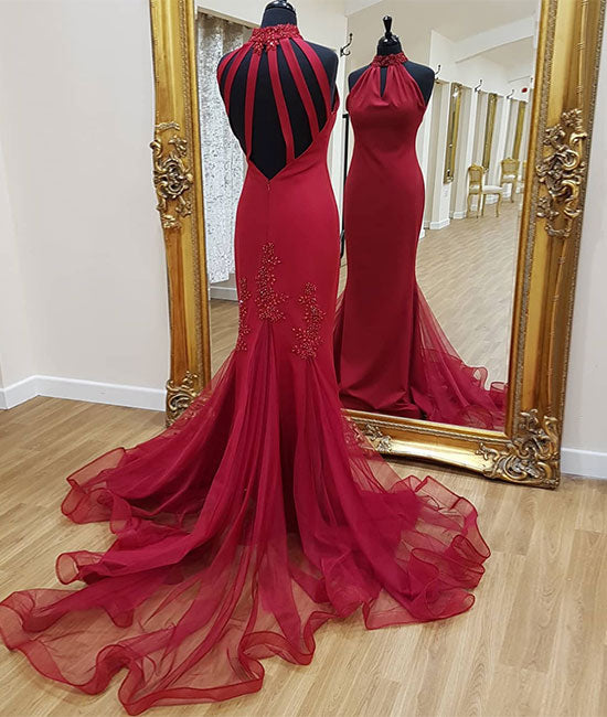 Burgundy tulle mermaid long prom dress, tulle evening dress