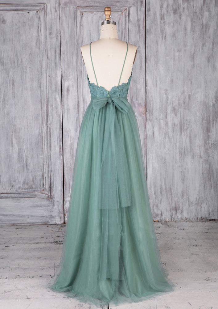 Green tulle lace long prom dress green lace evening dress