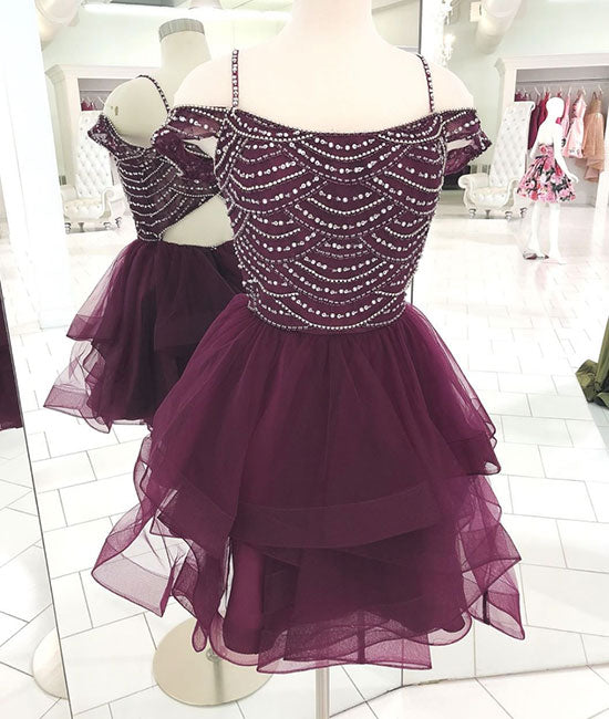 Cute tulle sequin short prom dress, cute homecoming dress