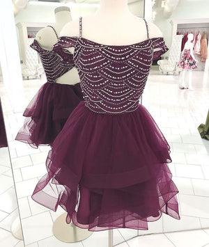 Cute tulle sequin short prom dress, cute homecoming dress - shdress