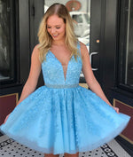 Blue v neck tulle lace applique short prom dress, cute homecoming dress