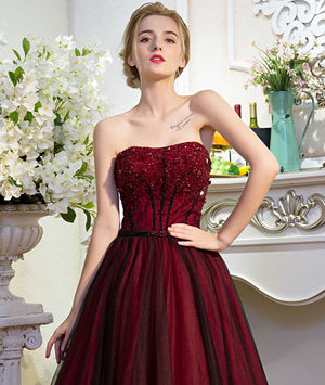 Unique burgundy tulle long prom dress, burgundy evening dress - shdress