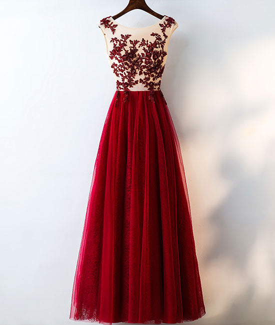 Burgundy round neck tulle lace long prom dress, bridesmaid dress