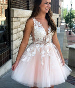 Pink v neck tulle lace applique short prom dress, pink homecoming dress