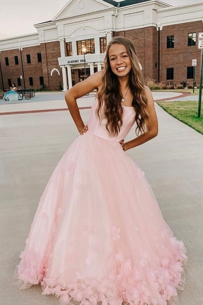 Pink tulle applique long prom dress pink tulle formal dress