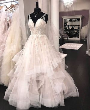 Unique v neck tulle lace long prom dress, tulle lace wedding dress