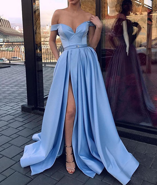 Blue sweetheart satin long prom dress, blue evening dress - shdress
