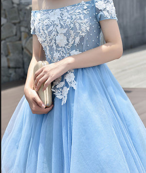 Cute tulle blue lace applique short prom dress, cute homecoming dress - shdress