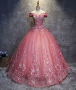 Pink sweetheart tulle lace applique long prom gown, sweet 16 dress