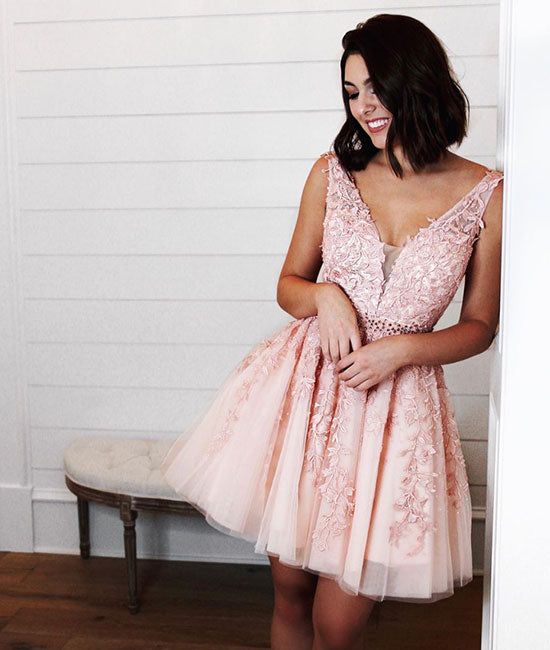 Pink v neck tulle lac applique short prom dress, pink homecoming dress - shdress